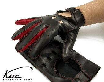 Men's car driving gloves, black with red elements - italian soft & durable lamb leather