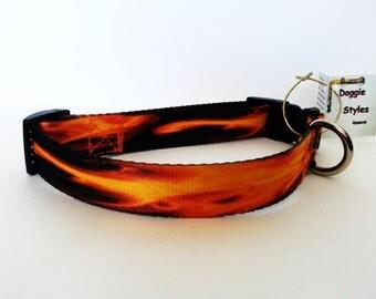 "Large Dog Collar, Flame Dog Collar, Adjustable or Custom Made Dog Collar 1"" Wide Polyester"
