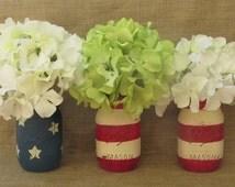 American Flag Chalk Paint Mason Jars Memorial Day Fourth of July Vetrans Day Labor Day Patriotic Americana