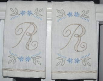 Pair of Fingertip Embroidered Monogrammed Linen Towels