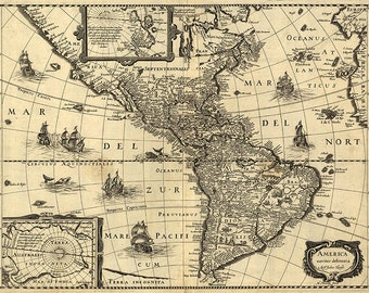USA map (17th century), old vintage map of the Americas, sepia map, north, south and central America -- item no 133