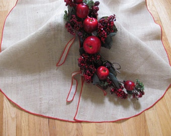"Burlap tree skirt 30"" RD - Choose Edge Color - Custom Orders are Welcome"