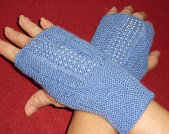 Sky Blue Knitted and Beaded Fingerless Mitts