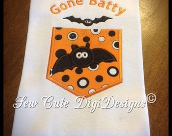 Gone Batty Halloween Bat Faux Pocket Applique Design - Instant Download