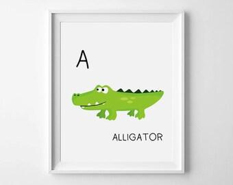 Alphabet wall art, A is for Alligator, ABC nursery art, green nursery decor, Nursery Print, Crocodile art, ABC wall art, ABC wall decor