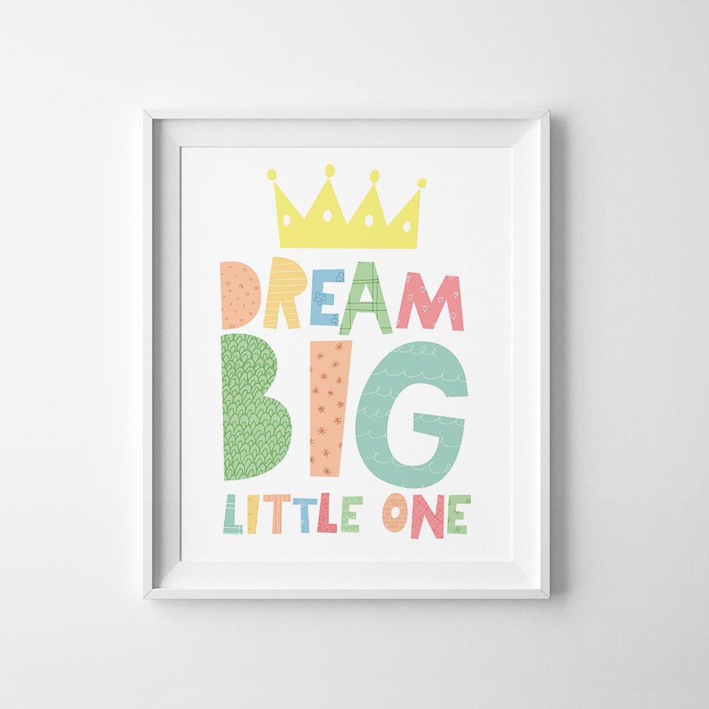 kids playroom wall art baby girl nursery decor dream big. Black Bedroom Furniture Sets. Home Design Ideas