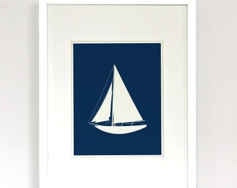 Sailing - Sailboat Modern Illustration Art Print