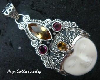 Silver Garnet & Citrine Naya Goddess Pendant NG-932