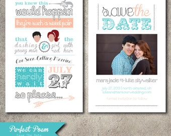 Printable Poem Save The Date Digital Invitation, Fun, Unique Off-Beat Bride, Teal Turquoise