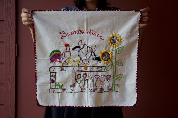 Hand embroidered farm animals buenos dias with