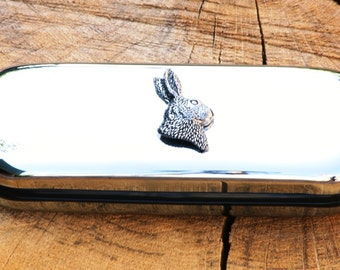 Hare Head Metal Pen Case & Ball Point Set Personalisable Gift