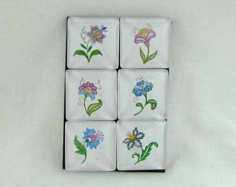 Set of Six Magnets Jacobian Floral