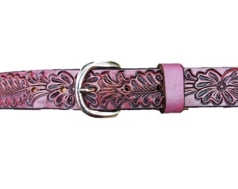 Personalized Leather Belt / Flower / Pink / Purple / Brown / Blue / Free name