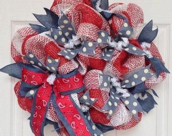 Bandana Western Deco Mesh Wreath Handmade 20 inch
