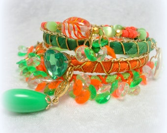 Gypsy Boho Bangle Stack in Green Gold and Orange by Cindy Caraway