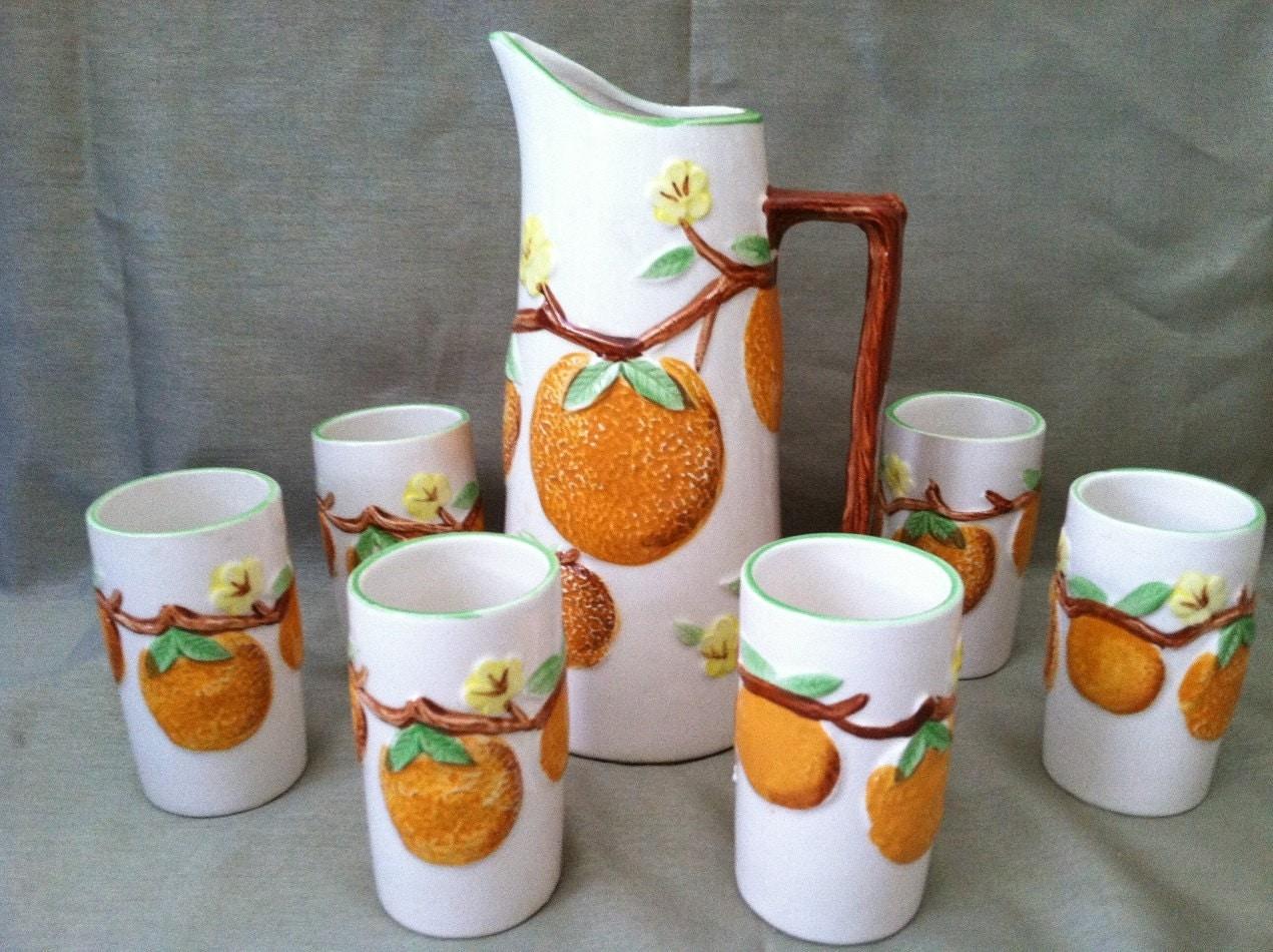 Napco vintage orange juice pitcher 6 tumblers for Wine and orange juice name