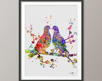 BIRDS  Watercolor Print Wedding Gift Fine Art Print Children's Wall Art Wall Love Decor Art Home Decor Wall Hanging [NO 241]