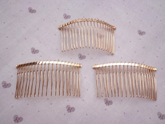 Nickel free 50 pcs gold metal hair combs 20teeth for Metal hair combs for crafts