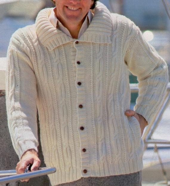 Aran Knitting Patterns For Men : VINtAGE 1980s ARAN CaBLE MeNs WiDe COLLAReD CARDIGaN