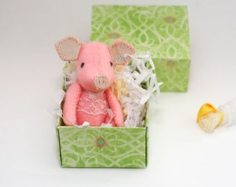 Made to Order - Miniature Pink Pig in Matchbox