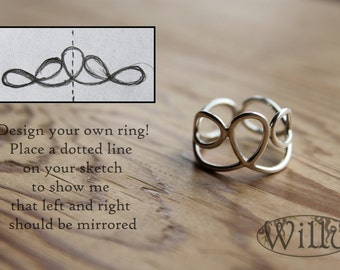 design you own silver ring, completely hand made for you