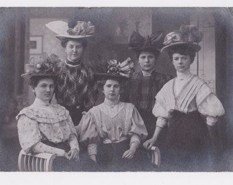 1900's to 1910 The Fancy Hat Society Real Photo Postcard of Edwardian Women with Fancy Hats