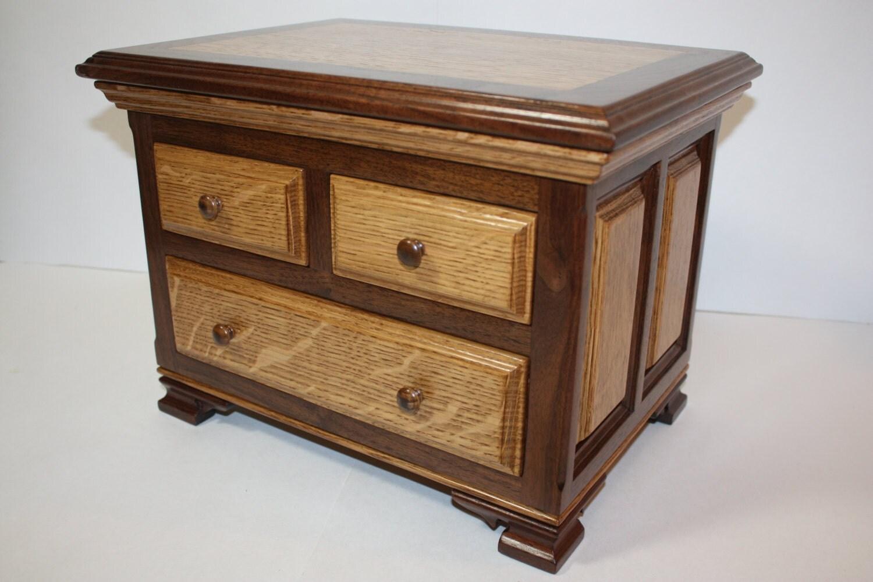 Large wood jewelry box handmade walnut with by for Handmade wooden jewelry box