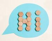 Bamboo Hexagon Fridge Magnets - set of 20