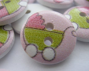 """10 Baby Buttons Pink Pram Buttons 15mm (5/8"""") Childrens Sewing Buttons Baby Clothes Accessories"""