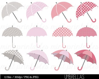 Umbrella Clipart Clip Art, Baby Shower Clipart, Bridal Shower, Wedding Shower, Girl Pink Grey - Commercial & Personal - BUY 2 GET 1 FREE!