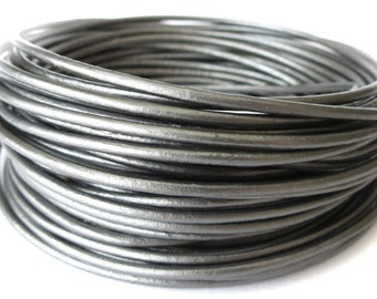 5 meters round leather cord in metallic silver, 2mm leather cord for necklace making, UK craft supplies