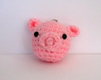 Crochet Pig Amigurumi Keychain