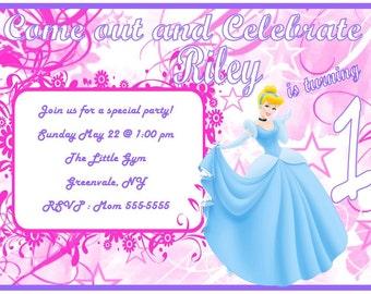 Adorable Cinderalla Birthday Girl Invitation
