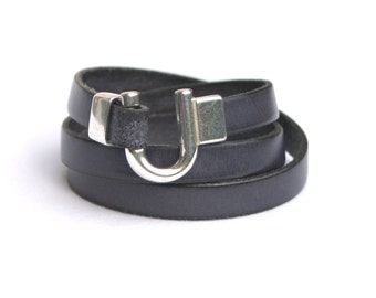Leather Bracelet Wrap Charcoal Grey
