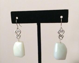 Light Blue Amazonite Silver Dangle Earrings.
