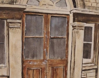 """WATERCOLOR PAINTING - Title:""""Brown Door""""-painting , original art original interesting door painting building wall decor wall hanging"""