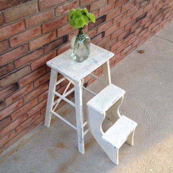 Vintage Shabby Chic Step Ladder With Fold Up Steps Step