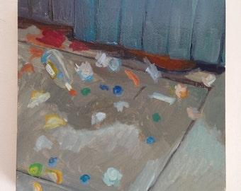 """3.7.14 painting a day original oil on panel painting 6 x 6"""" / waste / dumpster painting"""