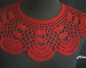 Handmade Crochet Collar, Neck Accessory, Red, 100% Cotton