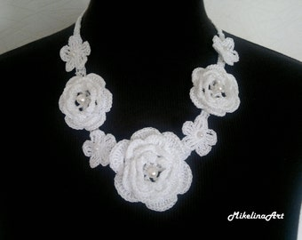 Crochet Necklace,Crochet Neck Accessory, Flower Girl Necklace, White, 100% Cotton.