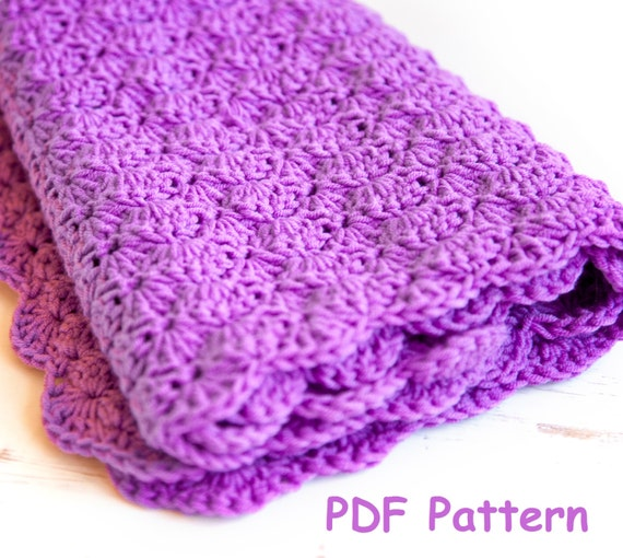 Easy Crochet Baby Blanket Shell Pattern : Crochet shell stitch baby blanket pattern Easy crochet for