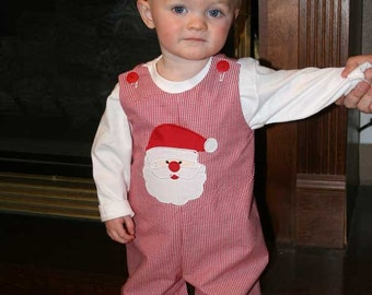 Santa Longalls, Christmas Longalls, Red Gingham Longalls,Boys Christmas Jon,Applique Embroidered Longalls Jon Jon