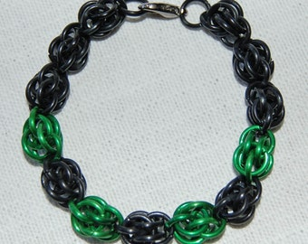 black and green cybergoth chainmaille and bracelet