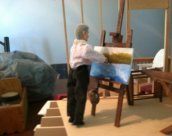 """Doll House Easel w/ Original Oil Painting, Handmade to Scale.1""""=1' scale, FREE SHIPPING"""