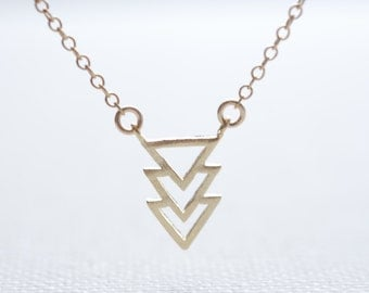 Geometric Necklace- Triangle Necklace- Simple Everyday Jewelry by HeirloomEnvy