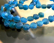 Neon blue apatite coin 5mm beads-Strand 6in-Jewelry beads supply- Gemstone apatite smooth coin beads.