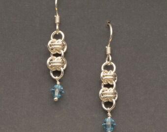925 Sterling Silver Orbital Chain Earrings, Dangle Earrings, Sterling Earwires, Swarovski Crystals  (E18)