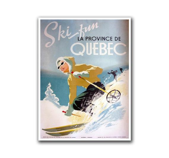 Retro Travel Art Quebec Canada Sports Poster Home Decor