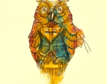 The Dapper Owl -  Card Print A4/A3