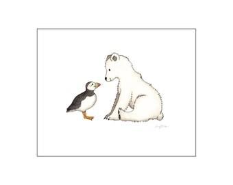 Printable art, Polar Bear art, Puffin art, Winter art, Nursery art print, Puffin print, baby room decor, custom digital, DIY